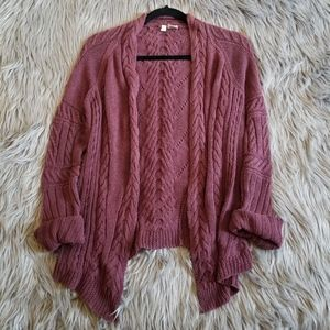 Anthropologie Maroon Burgundy Cable Knit Cardigan